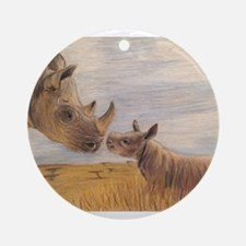 Rhino mom and baby Round Ornament