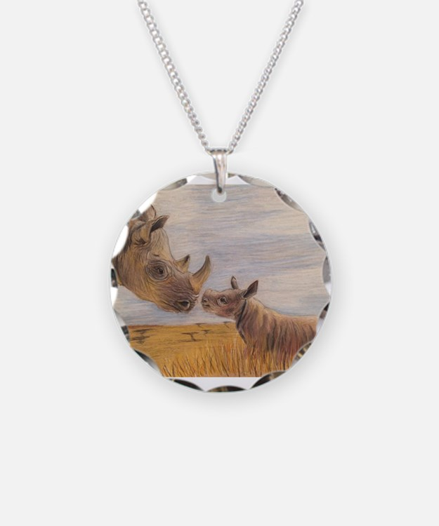 Rhino mom and baby Necklace
