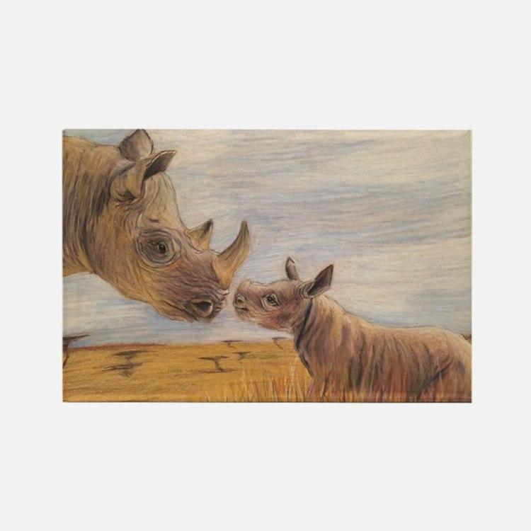 Rhino mom and baby Magnets