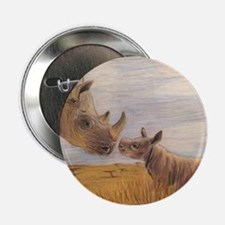 """Rhino mom and baby 2.25"""" Button (10 pack)"""