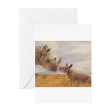 Rhino mom and baby Greeting Cards