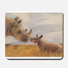 Rhino mom and baby Mousepad