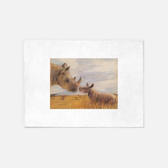 Rhino mom and baby 5'x7'Area Rug