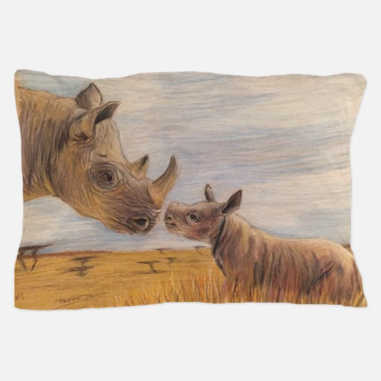 Rhino mom and baby Pillow Case