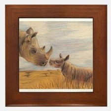 Rhino mom and baby Framed Tile