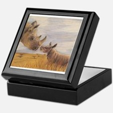 Rhino mom and baby Keepsake Box