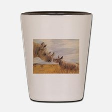 Rhino mom and baby Shot Glass