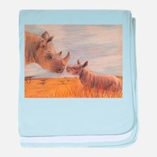 Rhino mom and baby baby blanket