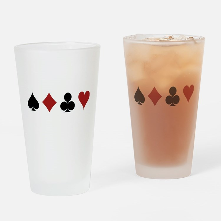 Four Card Suits Drinking Glass