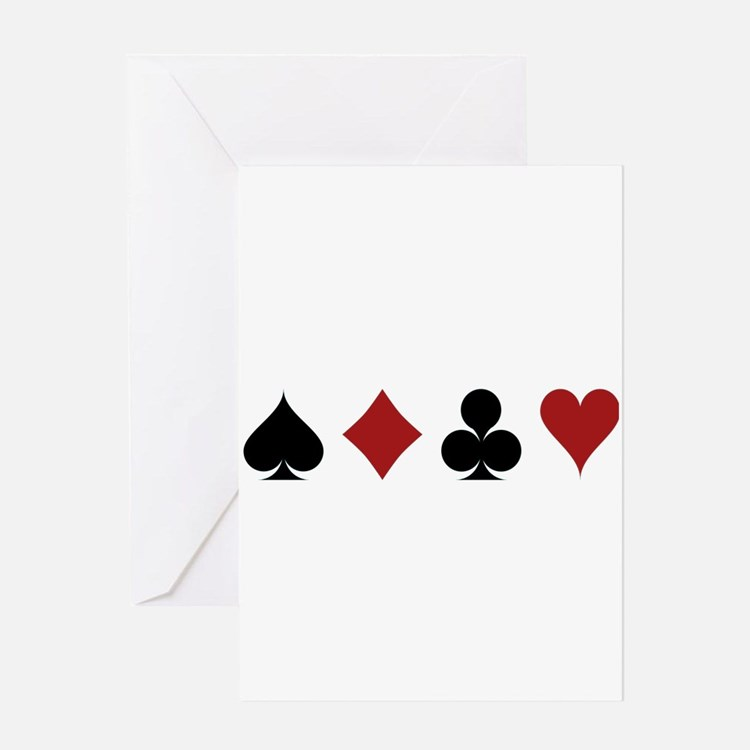 Four Card Suits Greeting Cards