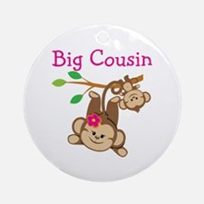Monkeys Girl Big Cousin Round Ornament
