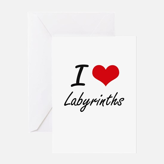 I Love Labyrinths Greeting Cards