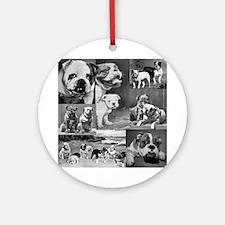 Vintage Bulldog Collage Ornament (Round)