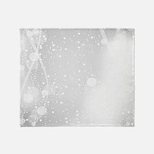 White Modern Glitter Bokeh Style Throw Blanket