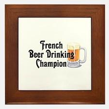 French Beer Drinking Champ Framed Tile