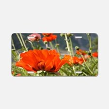 bold red poppy flower Aluminum License Plate