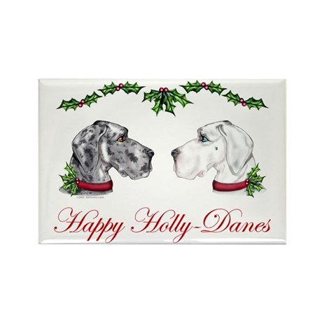 Great Dane HollyDanes MRL WHT UC Rectangle Magnet