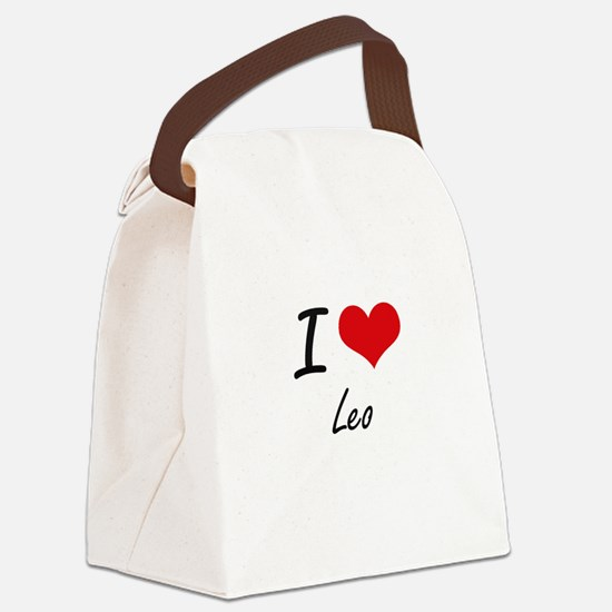 I Love Leo Canvas Lunch Bag