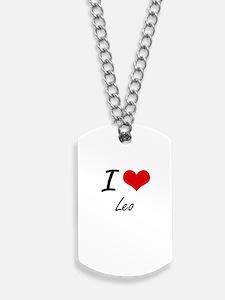 I Love Leo Dog Tags