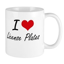 I Love License Plates Mugs