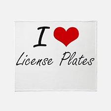 I Love License Plates Throw Blanket