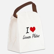 I Love License Plates Canvas Lunch Bag