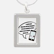 Disappear Quote Silver Portrait Necklace
