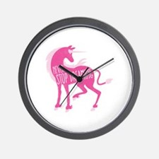 Never stop DREAMING with pink unicorn Wall Clock