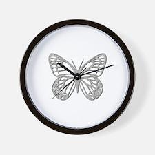 Silver Grey Butterfly Wall Clock