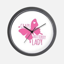 Crazy Butterfly Lady Wall Clock