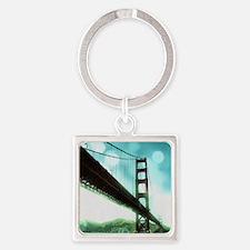 Bokeh Bridge Square Keychain