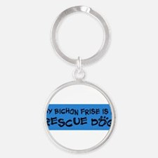 Funny Adopted dog Round Keychain
