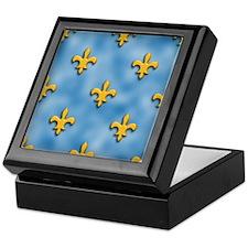 Blue and Yellow Fleur de Lis Keepsake Box