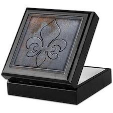Distressed Metal Look Fleur de Lys Keepsake Box