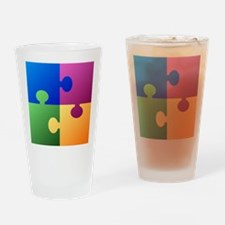 Colorful Puzzle Drinking Glass
