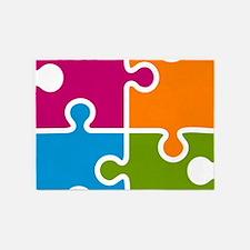 Puzzle Autism Awareness 5'x7'Area Rug