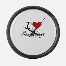 I Love Manta Rays Large Wall Clock