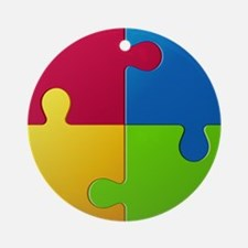 Autism Awareness Puzzle Round Ornament