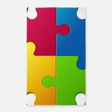 Autism Awareness Puzzle Area Rug