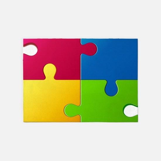 Autism Awareness Puzzle 5'x7'Area Rug