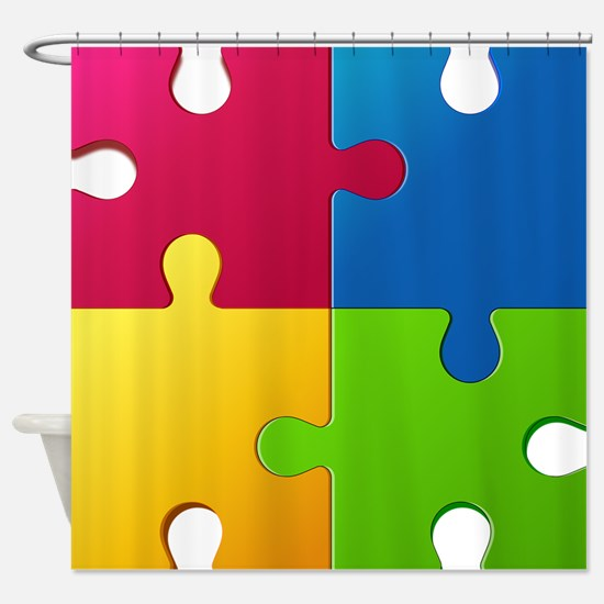 Autism Awareness Puzzle Shower Curtain