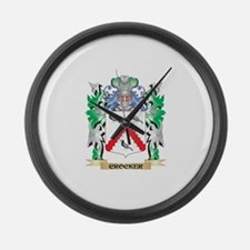 Crocker Coat of Arms - Family Cre Large Wall Clock