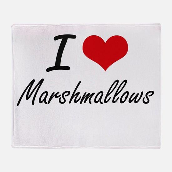 I Love Marshmallows Throw Blanket
