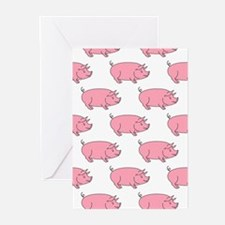 Field of Pigs Greeting Cards