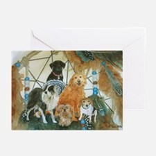 Dreamcatcher with 5 dogs Greeting Cards (Pk of 20)