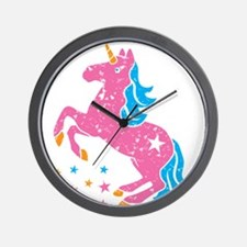 Distressed pink unicorn Wall Clock