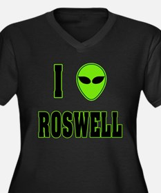 I Love Roswell Women's Plus Size V-Neck Dark T-Shi