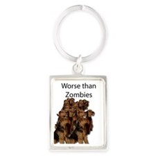 Funny Airedale Portrait Keychain
