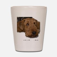 Cute Airedale terriers Shot Glass