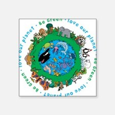 "Cute Save planet Square Sticker 3"" x 3"""
